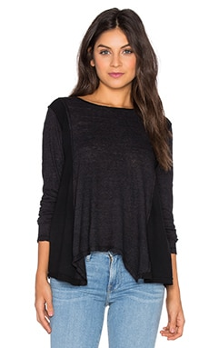 Cotton & Gauze Long Sleeve Swing Top in Black