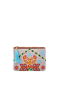 Leather Mirrored Large Clutch in Multi