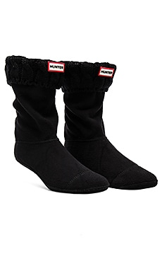 6 Stitch Cable Boot Sock in Black