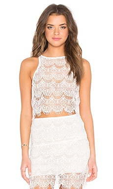 Kera Lace Up Back Tank in Ivory