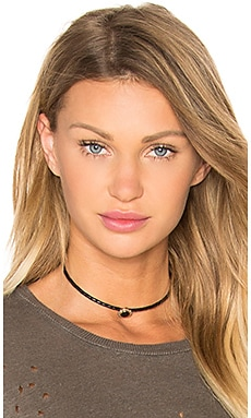Round Gemstone Braided Choker in Black