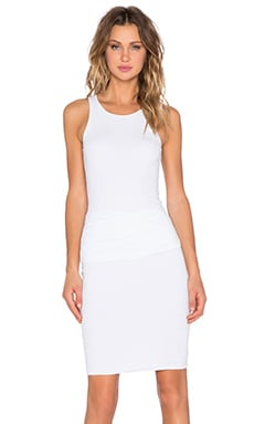 Ruched Belt Dress in White