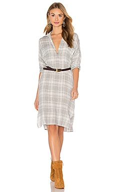 Oversized Shirt Dress in Light Grey Plaid