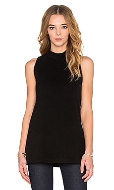 Sleeveless Split Hem Top in Black