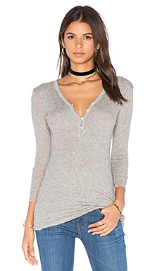 Rib Henley Top in Heather Grey
