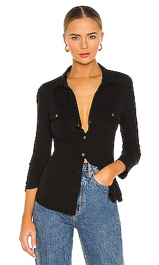 Slub 3/4 Sleeve Button Front Shirt in Black