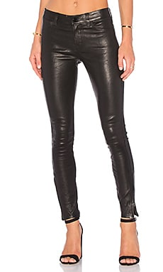 Mid Rise Leather Skinny in Black