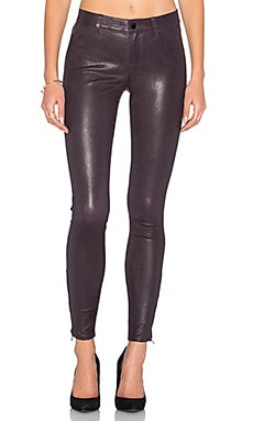Mid Rise Leather Skinny in Black Plum