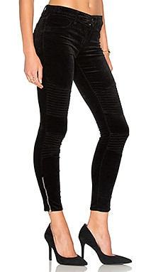 Velvet Moto Zip Skinny in Black
