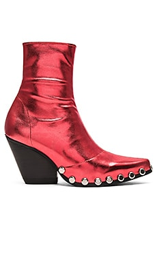 Walton St Booties in Red Metallic Silver