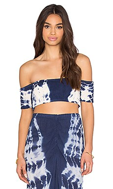 Aries Bandeau Top in Artist Blue & Natural Hed