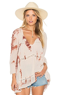 LA Bebe Tunic in Rust & Natural Fold Tie Dye