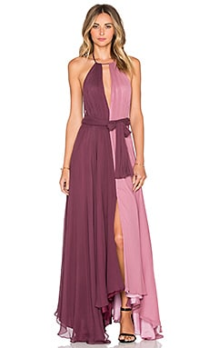 Colorblock Gown in Mauve & Thistle