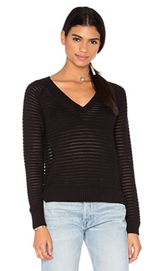 Connor V Neck Sweater in Caviar