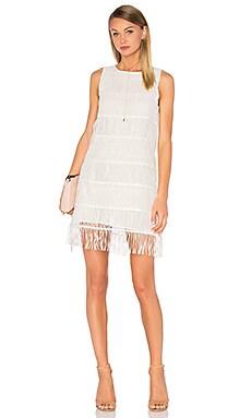 Sleeveless Fringe Mini Dress in White