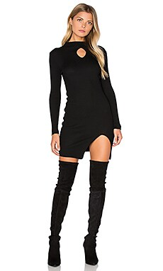 Long Sleeve Front Key Hole Dress in Black