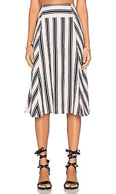 Stripe Midi Skirt in Taupe & Navy