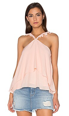 Sleeveless Ruffle Blouse in Rose