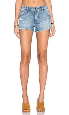 Mazie Collector's Edition The Wasteland Short in Medium & Light Blue Distressed