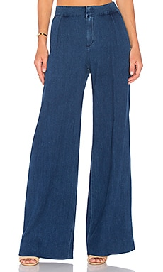 Bessie Wide Leg Trouser in Medium Blue