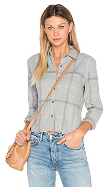Carlie Crop Shirt in Heather Grey