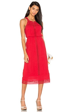Dance Midi Dress in Brick Red
