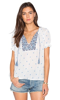 Domingo Top in Porcelain & Shades of Blue