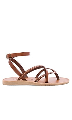 Oda Sandal in Dark Brown & Silver