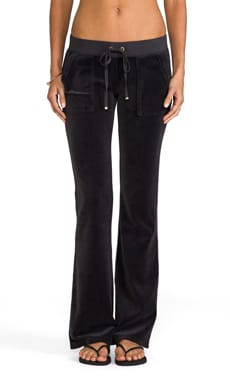 Velour Bootcut Pant with Snap Pockets in Top Hat