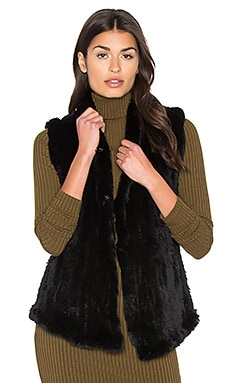 Shawl Dyed Rabbit Fur Vest in Black