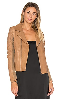 Fitted Leather Moto in Camel