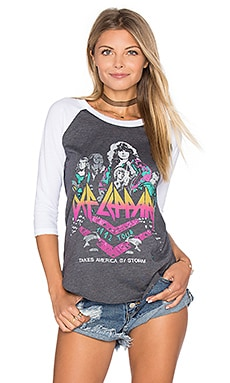 Def Leppard Baseball Tee in Jet Black & Electric White