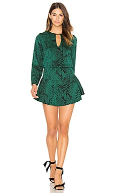 Jackie Print Mini Dress in Verde Snake