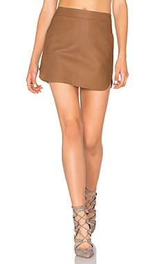 Jacob Leather Skirt in Tan