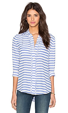 Painterly Stripe Ruffle Button Up in Periwinkle & Cream