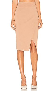 Compact Overlap Pencil Skirt in Macaroon
