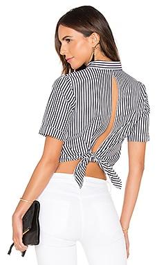Open Back Top in Black & White Vertical Stripe