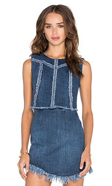 Denim Seamed Top in Denim