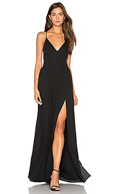 Lace Back Maxi Dress in Black