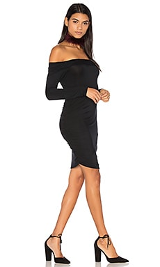 Ruched Off Shoulder Mini Dress in Black