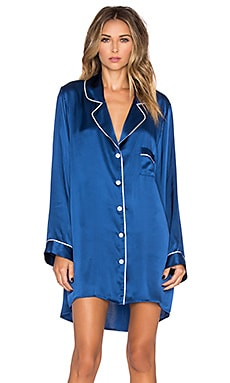 Long Sleeve Silk Night Shirt in Royal Blue