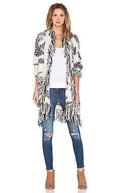 Pattern Jacquard Lucy Fringe Cardigan in Black & Ivory