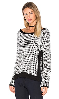 Aubrey Side Slit Sweater in Black & White