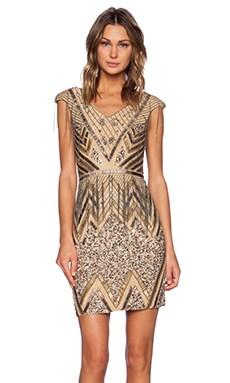 Sequin V-Neck Dress in Silver & Gunmetal