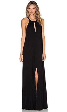 Slit Halterneck Maxi Dress in Black