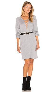 Lace-Up Sweatshirt Dress in Oyster
