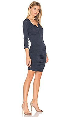 Ruched Henley Dress in Navy