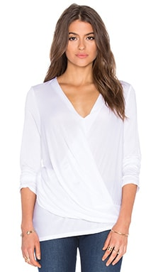 Long Sleeve Asymmetrical Surplice Top in White