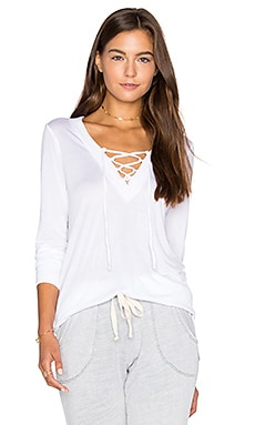 Lace Up Pullover Top in White