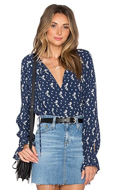 The Boho Blouse in Blue Floral